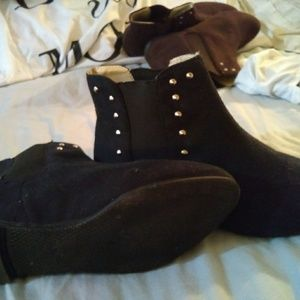Black - Silver Studded Booties - Brand New - 9
